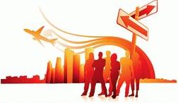 ilustrasi bisnis travel agent online